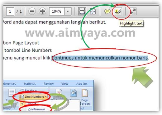 Gambar: Cara menandai teks pada file PDF menggunakan Adobe Reader XI
