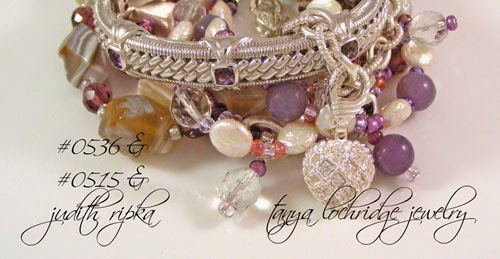 Ametthyst & Purple Banded Agate Coin Pearls Crystal Quartz Bracelets