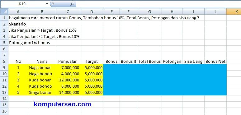 menghitung bonus penjualan