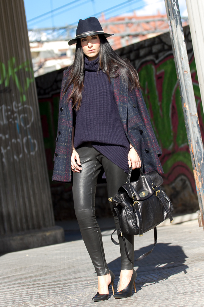 Streetstyle leather leggins Muubaa and Mulberry Alexa
