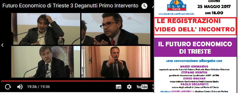 """LE REGISTRAZIONI VIDEO DELL' INCONTRO """"IL FUTURO ECONOMICO DI TRIESTE"""" organizzato dal Limes Club"""