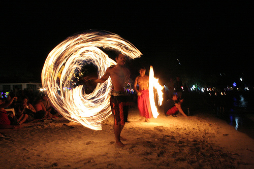 Fire dance Show Full Moon Party Haad Rin, Koh Phangan, Thailand Transfer service from your hotel at Koh Samui to Haad Rin, Koh Phangan
