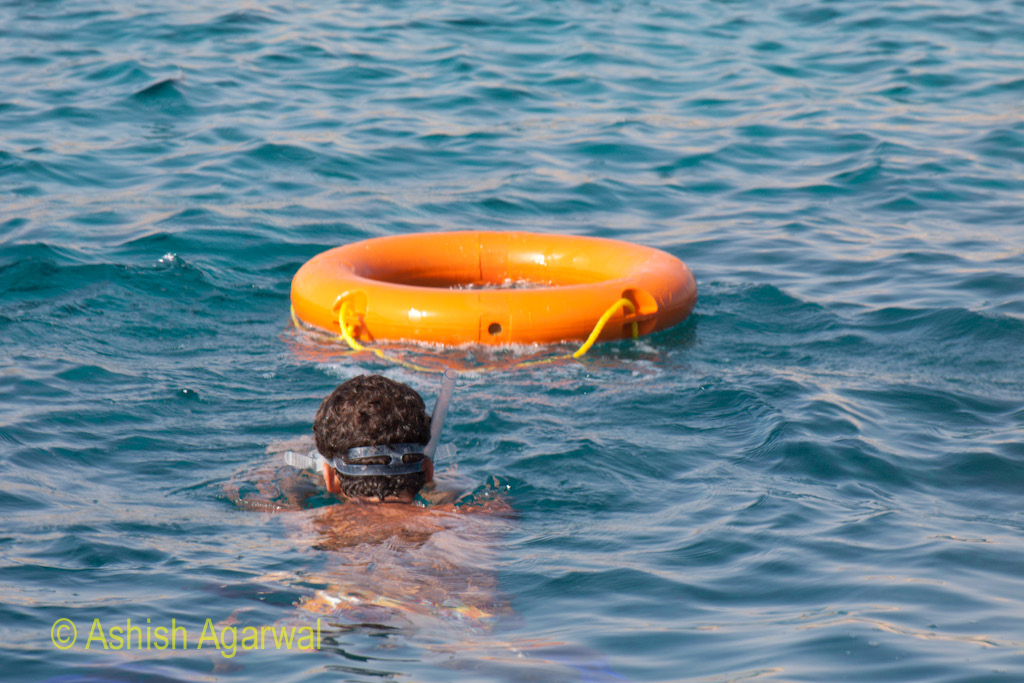 Man wearing snorkeling equipment heading towards a rubber tube in the Ras Muhammed park