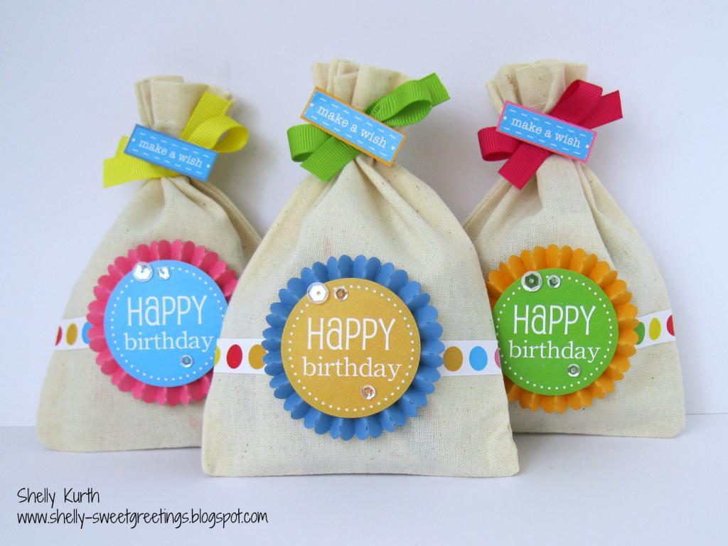 SRM Stickers Blog - DIY Birthday Kit by Shelly  #birthday #favors  #DIY #kit #muslin #bags  #stickers