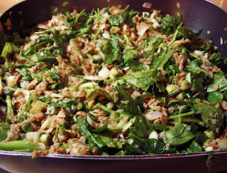 Electric Frying Pan with Onions, Garlic, Crumbles, and Just-Wilted Lettuce