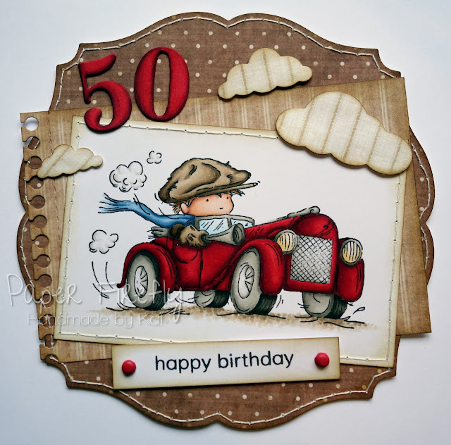 Masculine card featuring cars stamp 'Toot Toot!' by LOTV