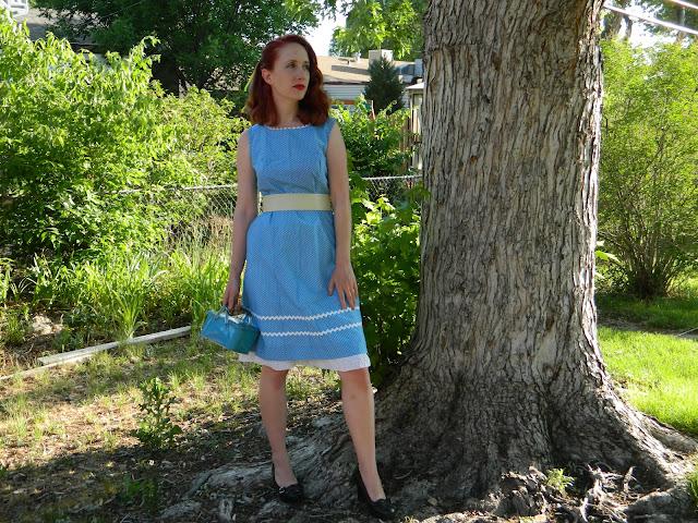 1950s polka dot ric rac vintage tin dress Just Peachy, Darling