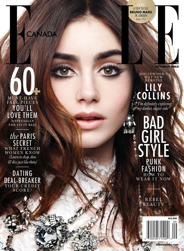 Lily Collins wears statement accessories for Elle Canada September 2013