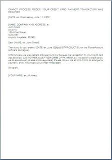 Credit Card Transaction Declined Letter