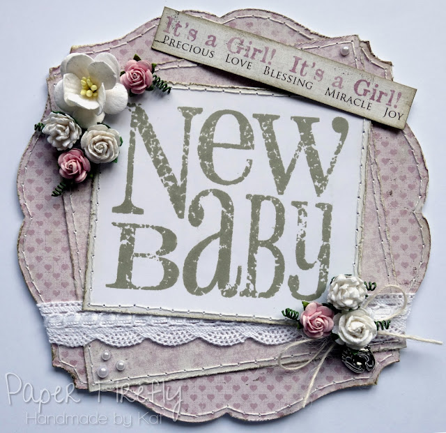 New baby girl card designed by Paper Firefly