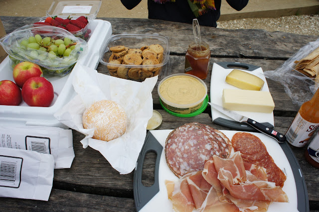 Picnic spread at Hog Island Oyster Farm