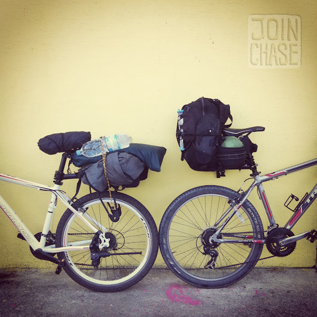 Two bikes packed with luggage for a six-day trip across South Korea.