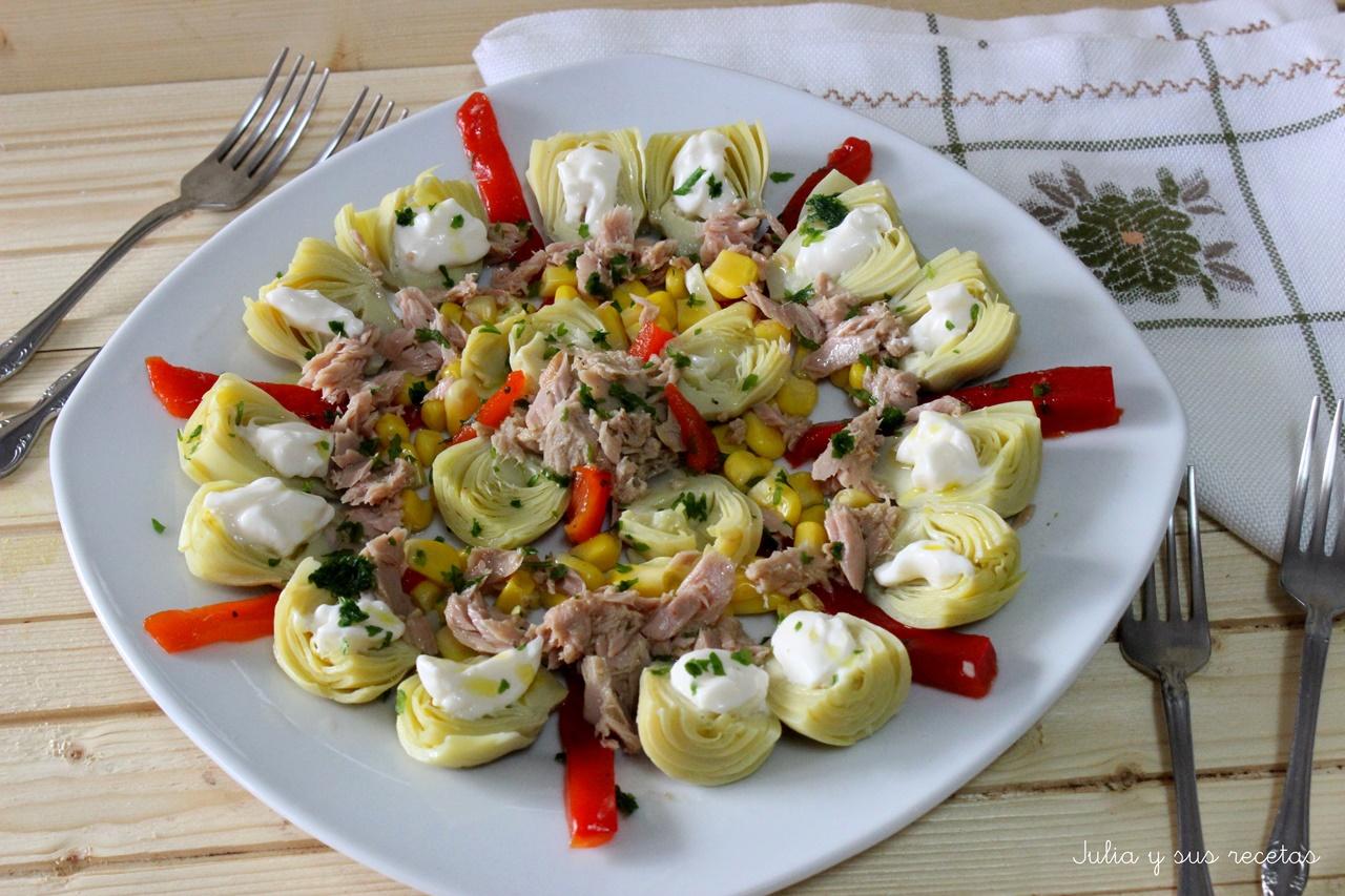 Julia y sus recetas ensalada de alcachofas y at n for Cocinar alcachofas