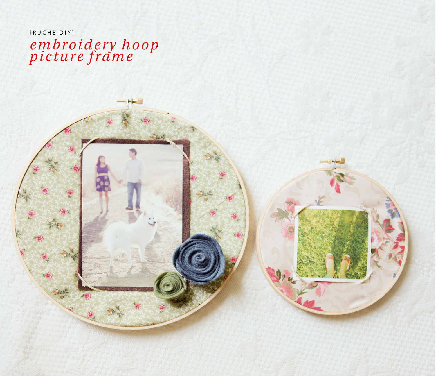 Ruche project diy embroidery hoop picture frame