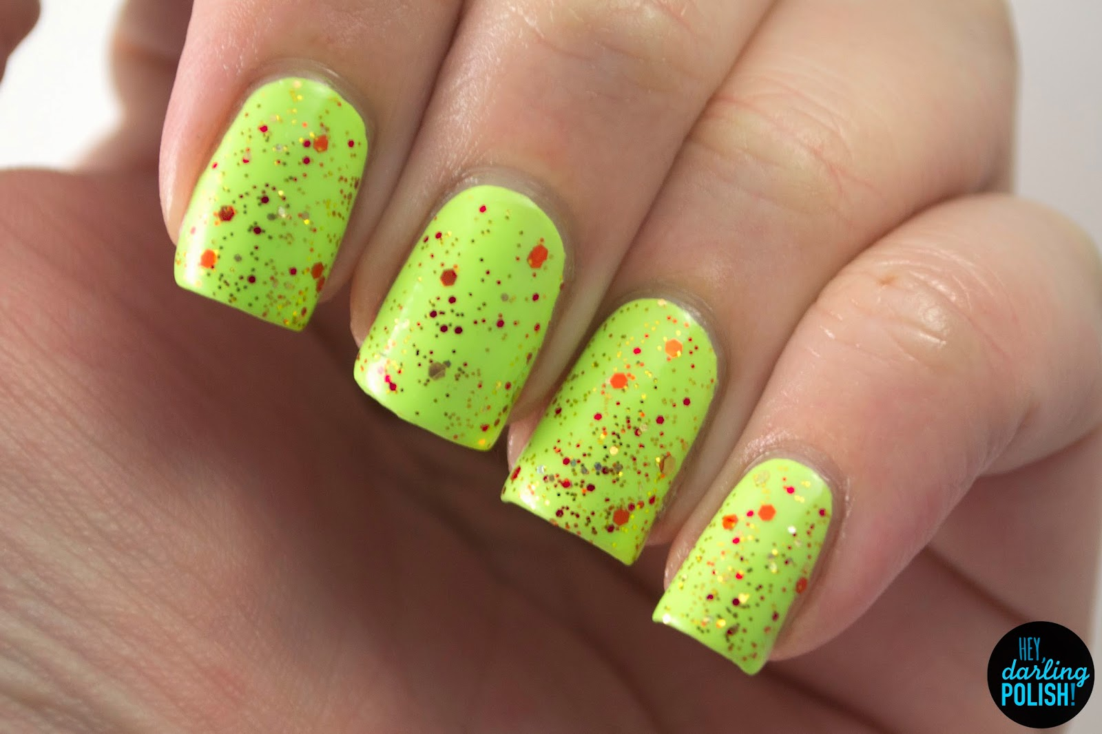 dragon's gold, green, orange, gold, nails, nail polish, polish, indie, indie polish, indie nail polish, hey darling polish, a study in polish, glitter,