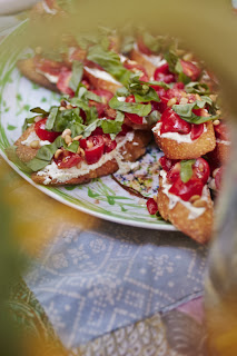 Aperitivo spread with bruschetta