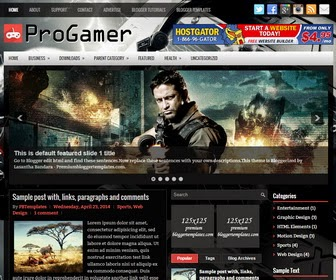 ProGamer is a Responsive, 3 Columns Blogger Template for Game Blogs. ProGamer Blogger Template has a jQuery Slider, Dropdown Menus, 468x60 Header Banner, Related Posts, Breadcrumb, 2 Right Sidebars, 3 Columns Footer, Tabbed Widget and More Features