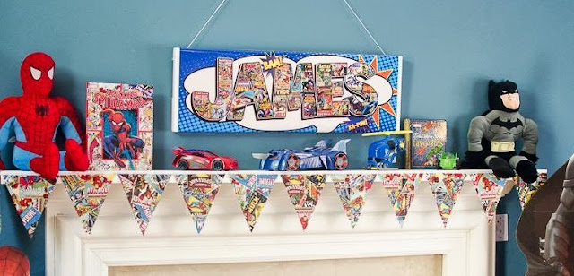 superhero mantle decorations