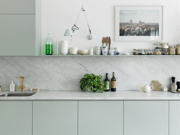 Pale Teal Is Trendy, Calming And Extremely Popular Within Scandinavian  Design Schemes. Teal Coloured Cabinets In Combination With A Marble Worktop  Will Keep ...