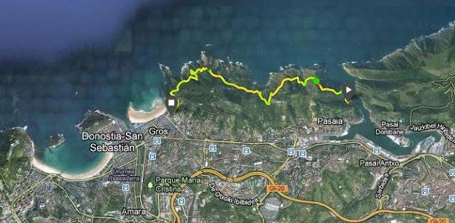 Sentier du littoral Talaia Pasaia-Donostia 6.8km et 350m+/-