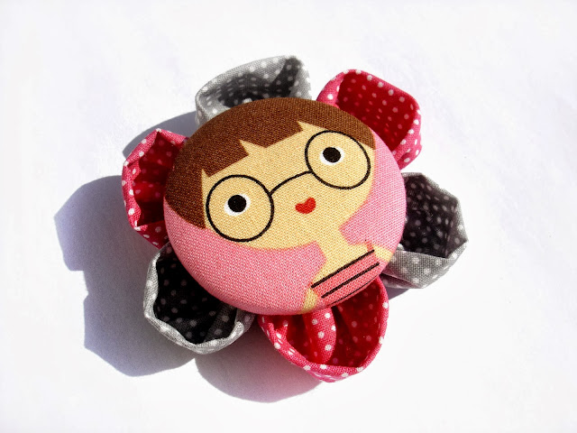 Girl in Pink Fabric Brooch by ScrapCati