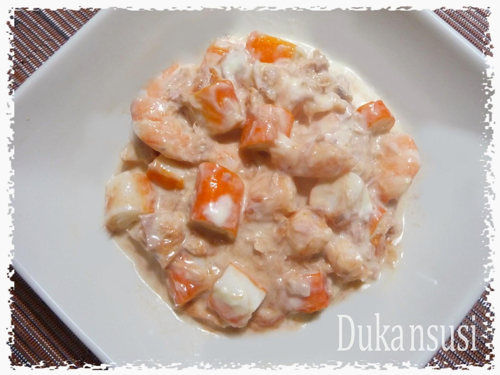 Recetas dukan dukansusi coctel de marisco con salsa rosa dukan fase ataque - Coctel de marisco ingredientes ...