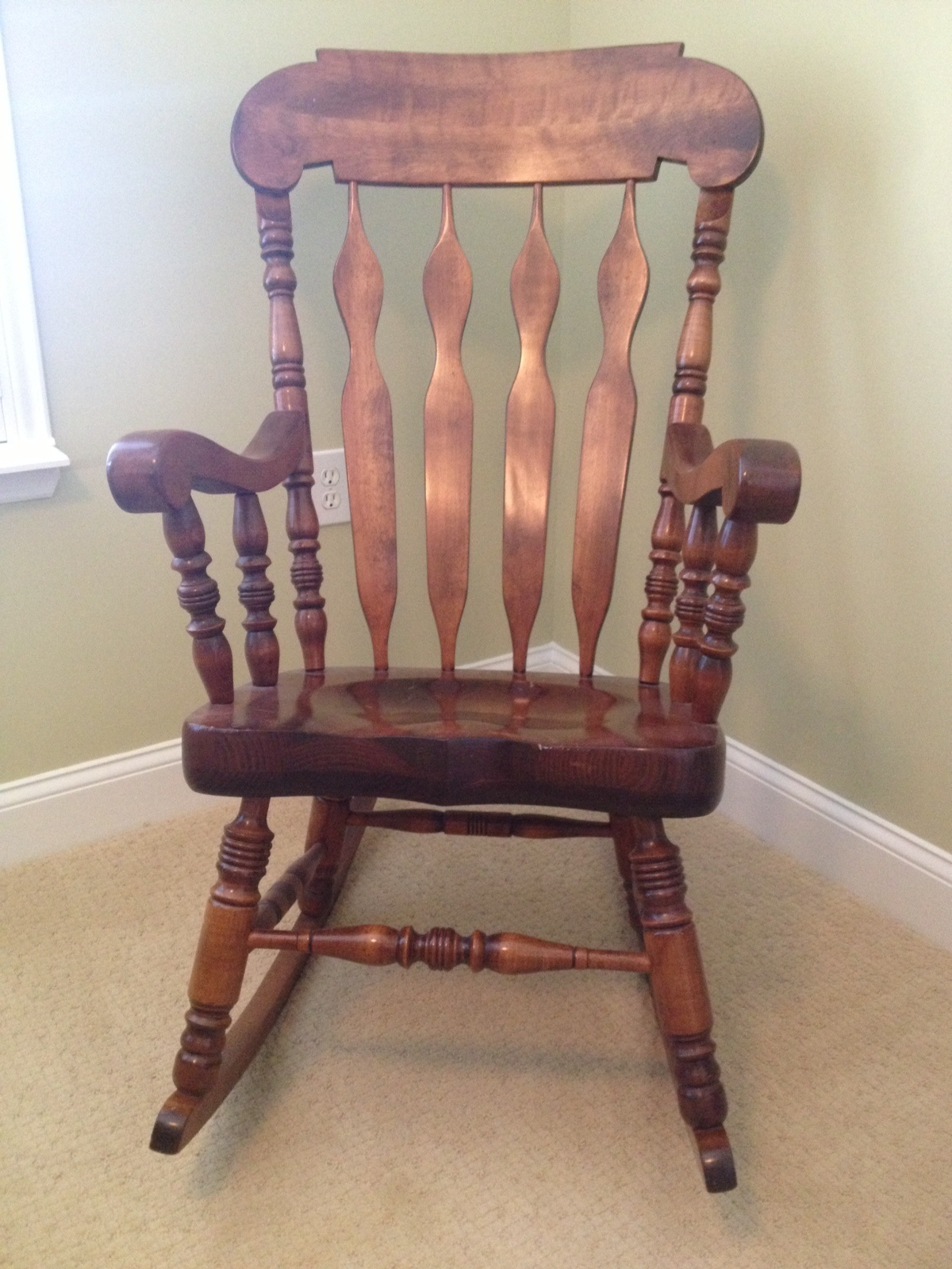 Amazing photo of rocking chair before with #6C413A color and 1200x1600 pixels