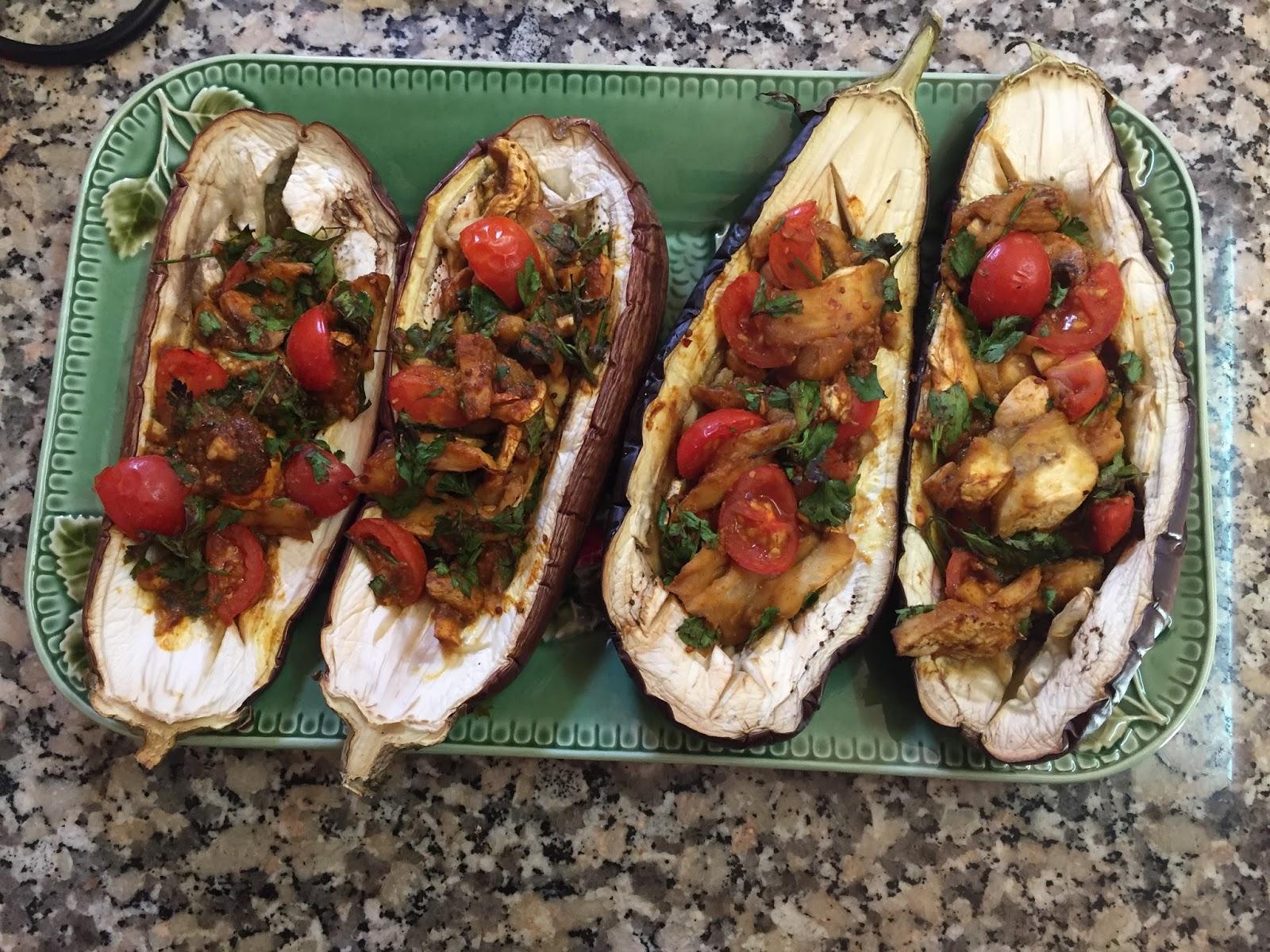 Stuffed baked eggplant aubergine clean eating vegan starter recipe forumfinder Choice Image