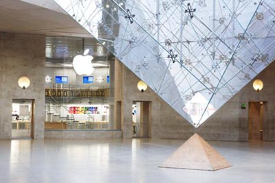 Apple's store at the bottom of the famous Louvre museum in Paris can be found just below the iconic glass pyramid that juts up outside.