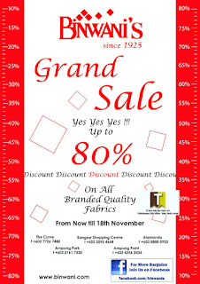 Binwani's Grand Sale till 18 NOV 2012