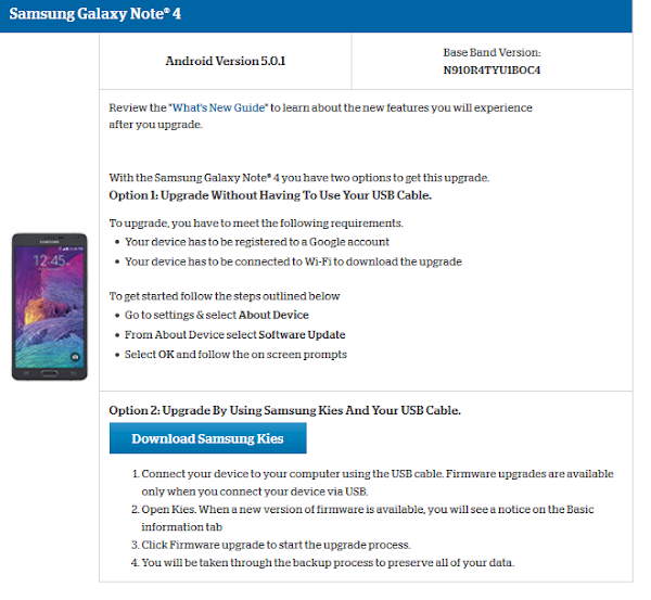 Samsung Galaxy Note 4 for US Cellular Lollipop update page