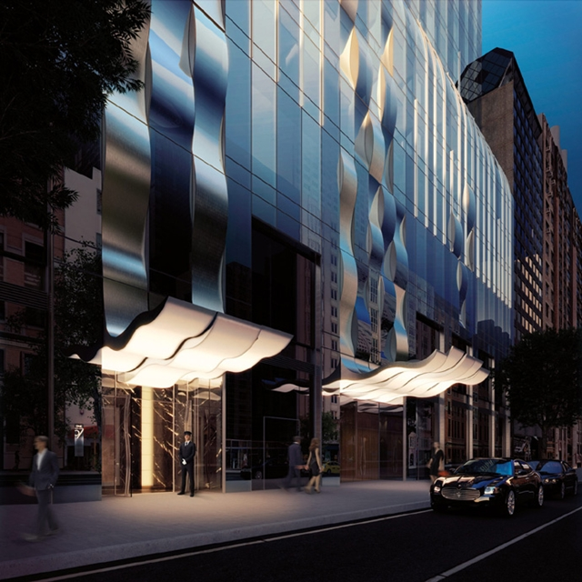 Rendering of an entrance as seen from the street of One 57 by Christian de Portzamparc