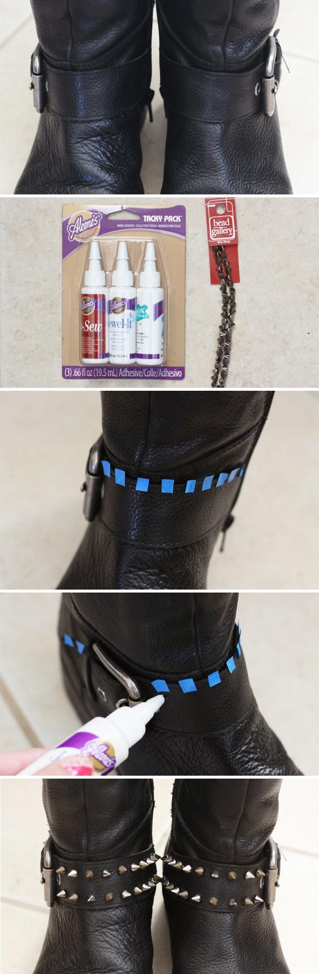 DIY, studded boots, nine west, restyle boots, black leather boots, fashion blogger diy, favorite DIY