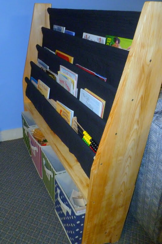 Sling Bookshelf With Storage Bins For Kids
