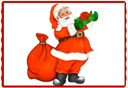 Drawing of Santa Claus Christmas picture with gifts for children