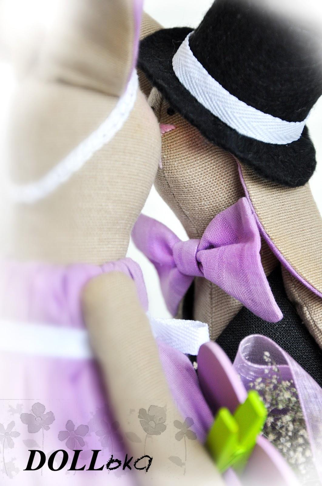 Зайки лавандовые текстильные игрушки ручной работы