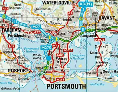 map of Portsmouth and South Hampshire