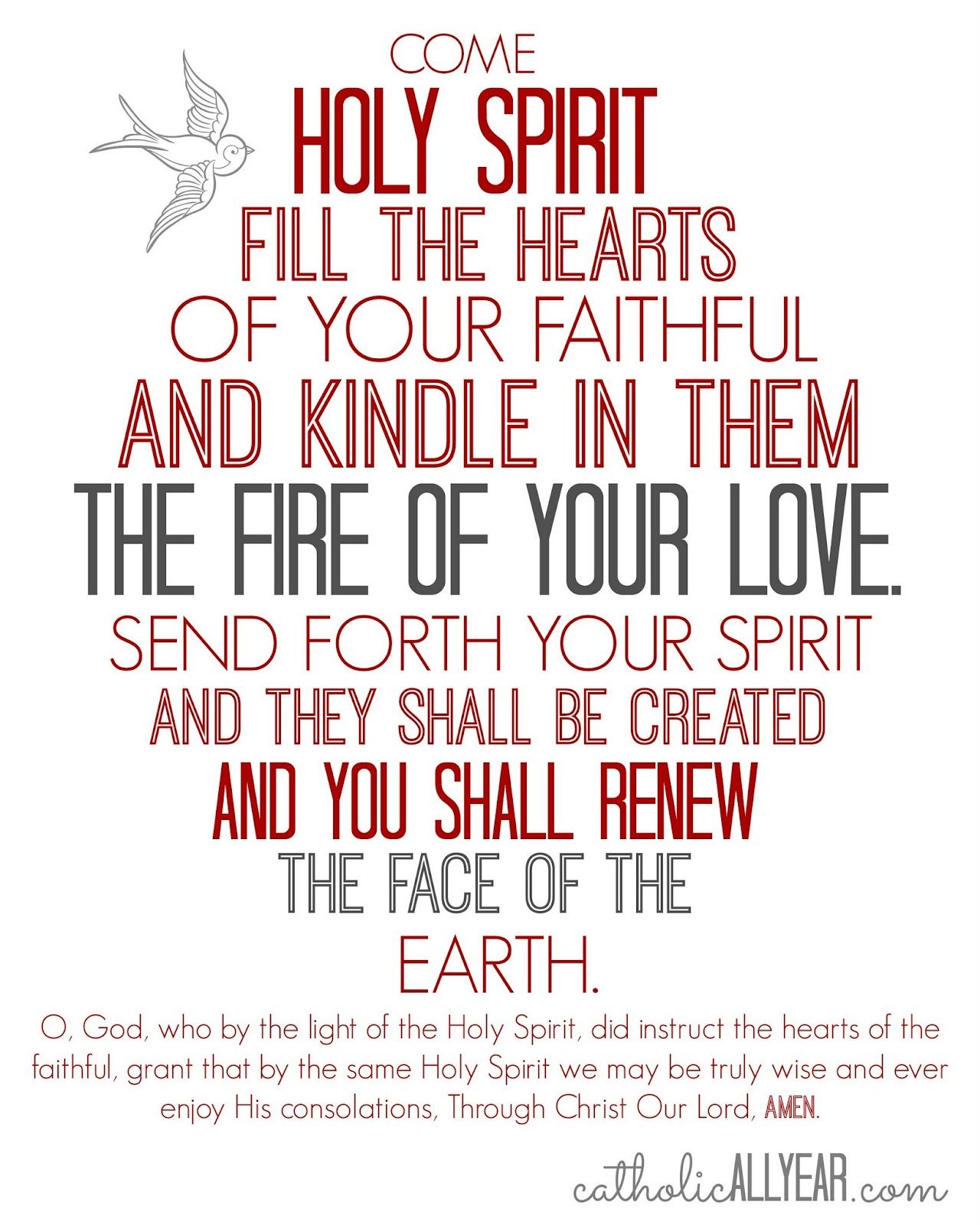 Vibrant image with regard to come holy spirit prayer printable