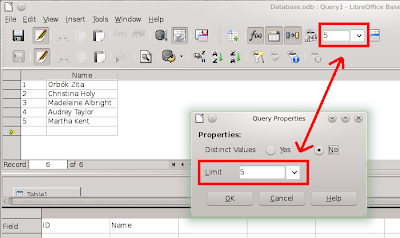 Query properties dialog has the same box as the query design toolbar. These two box are in sync.