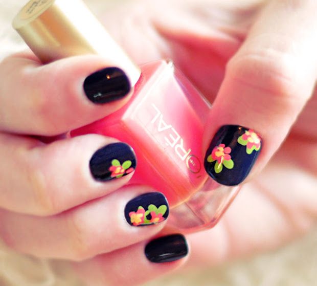 diy floral nail art hand painted