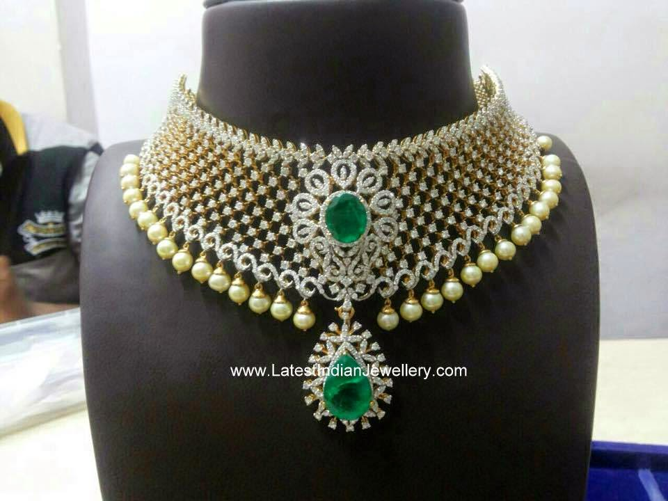 Diamond Necklace with Pearl Drops