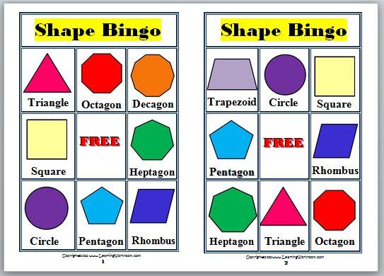Learning Ideas - Grades K-8: 2-D Shapes Bingo for Kids