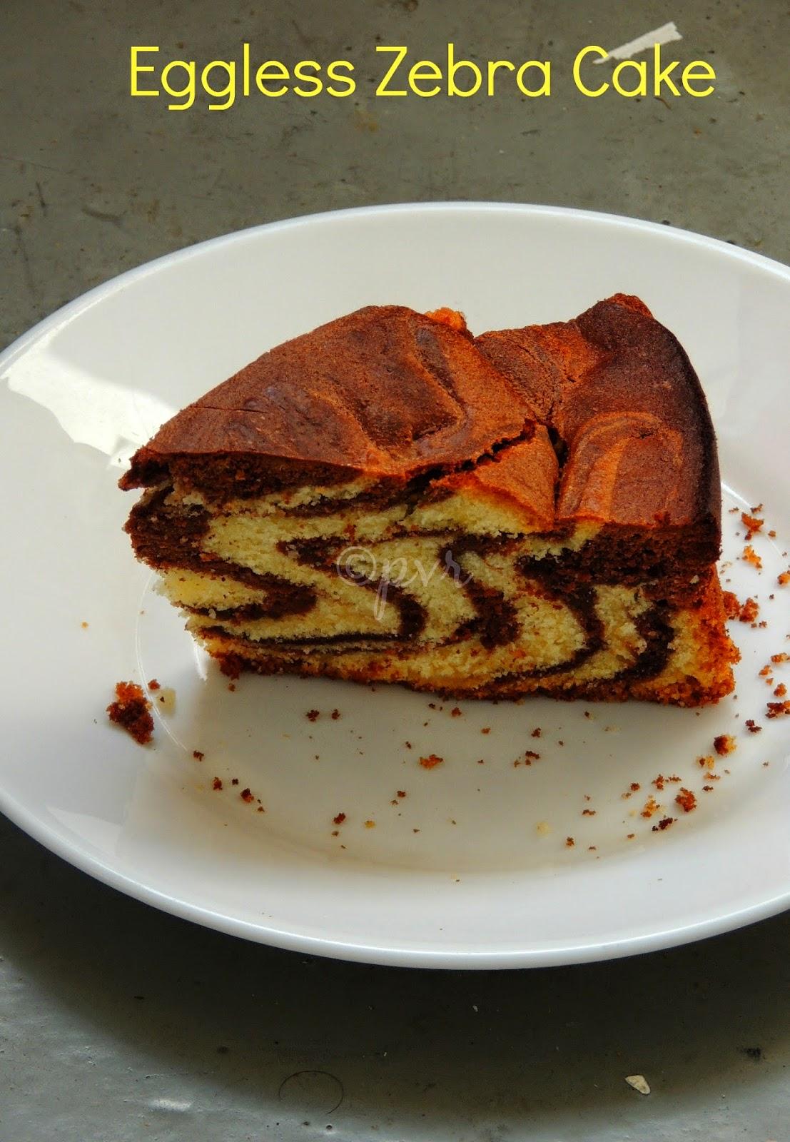 Eggless Vanilla chocolate zebra cake
