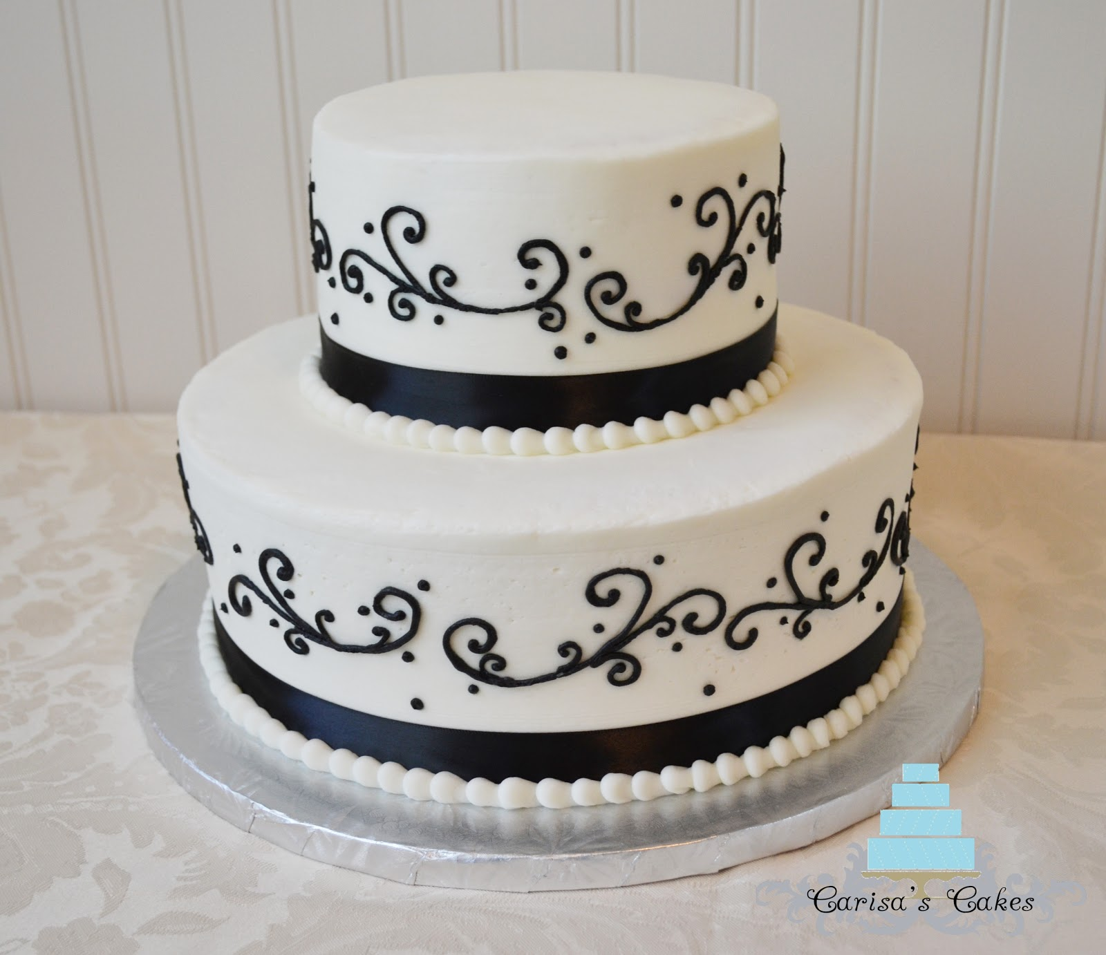 carisa 39 s cakes black and white wedding cake. Black Bedroom Furniture Sets. Home Design Ideas