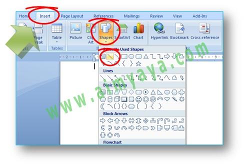 Gambar: cara membuat garis di microsoft word 2007