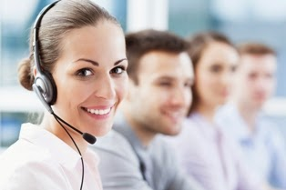 Woman on Headset in Call Center