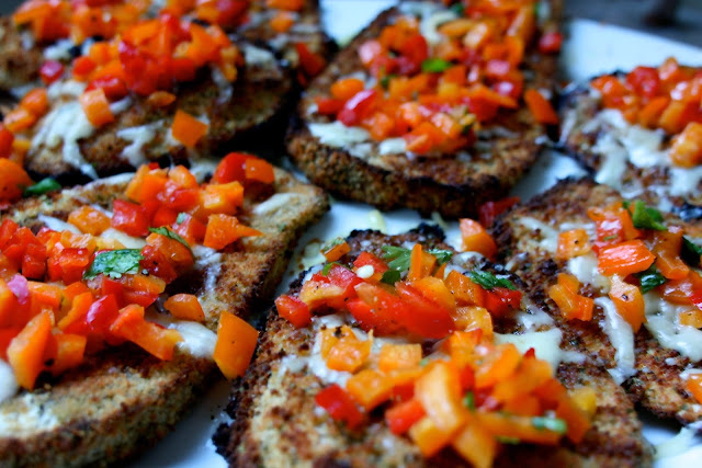 Breaded Eggplant with Red Pepper Salsa: Simple Living and Eating