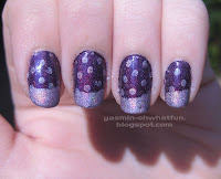 Purple holo mani with french tips and polka dots