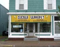 funny business names sew what