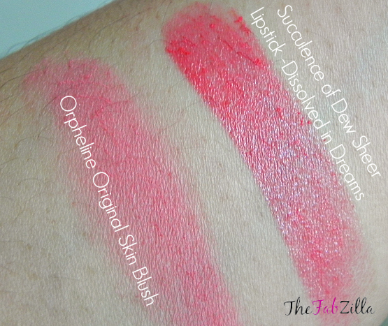 review Rouge Bunny Rouge original skin blush, orpheline swatch, review succulence of dew sheer lipstick dissolved in dreams, swatch, photo